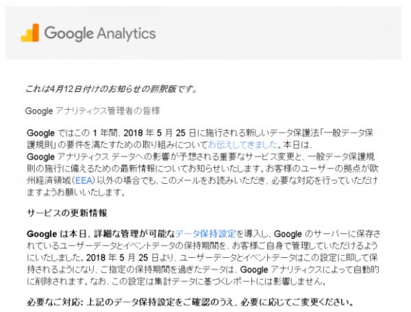 Google Analytics(グーグル・アナリティクス)からの連絡メール