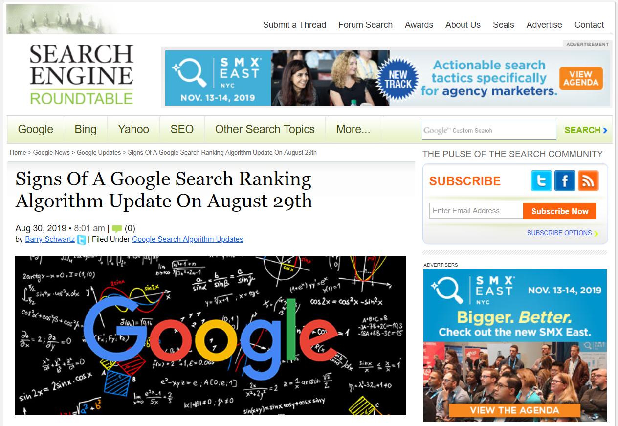 2019年8月30日Search Engine ROUNDTABLE